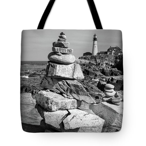 Cairn And Lighthouse  -56052-bw Tote Bag