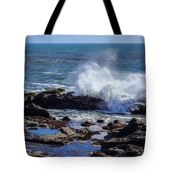 Wave Crashing On California Coast Tote Bag