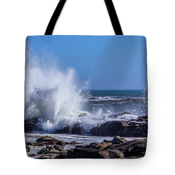 Wave Crashing On California Coast Tote Bag