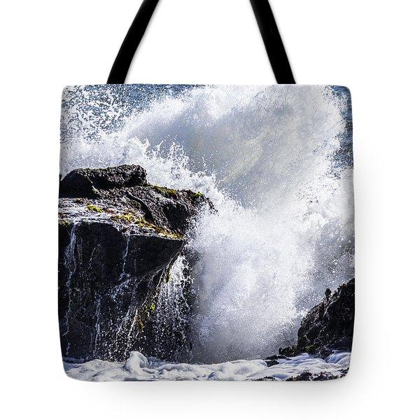 California Coast Wave Crash 6 Tote Bag