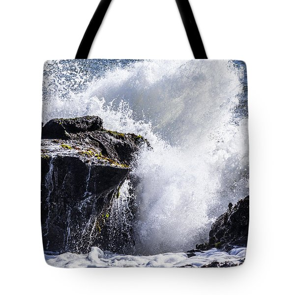 California Coast Wave Crash 6 Tote Bag
