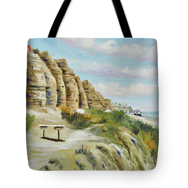 Tote Bag featuring the painting Calafia Beach Trail by Mary Scott