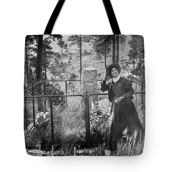 Tote Bag featuring the photograph Calamity Jane At Wild Bill Hickok's Grave 1903 by Daniel Hagerman