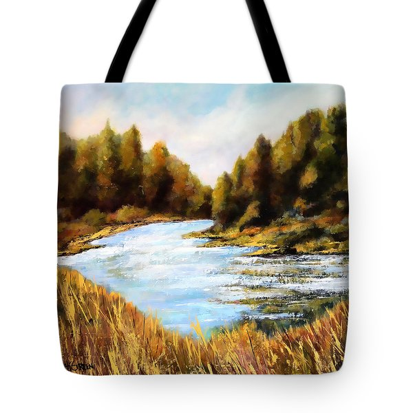 Tote Bag featuring the painting Calapooia River by Marti Green