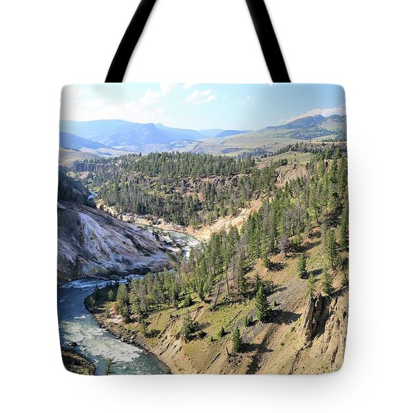 Calcite Springs Along The Bank Of The Yellowstone River Tote Bag