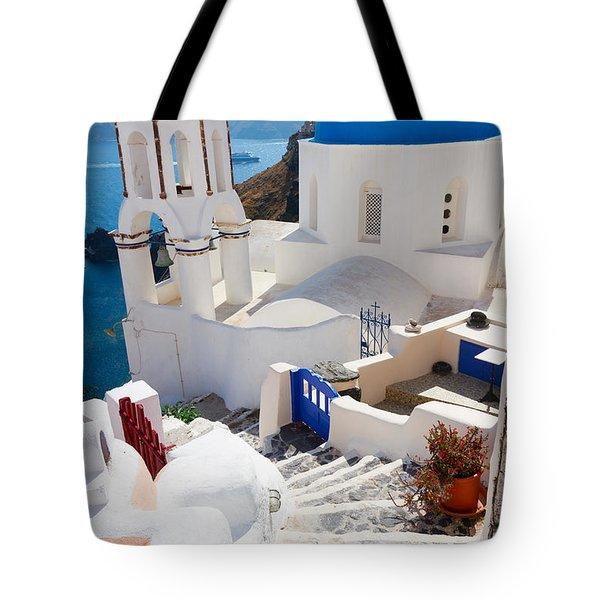 Caldera With Stairs And Church At Santorini Tote Bag by Anastasy Yarmolovich