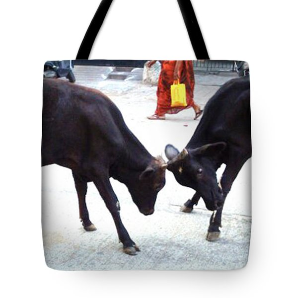 Calf Fighting Tote Bag by Ragunath Venkatraman