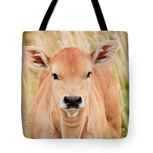 Calf In The High Grass Tote Bag