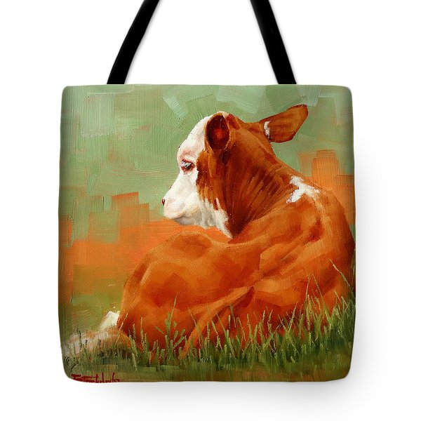 Calf Reclining Tote Bag by Margaret Stockdale