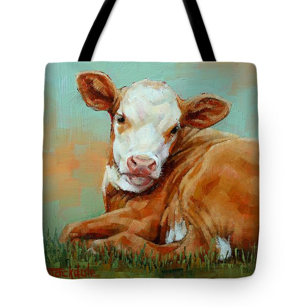 Calf Resting Tote Bag by Margaret Stockdale
