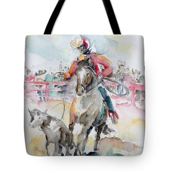 Calf Roping Tote Bag by Barbara Pommerenke