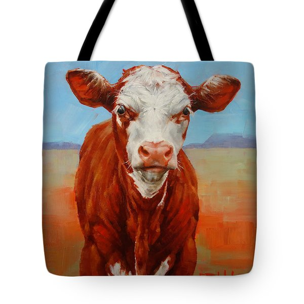 Tote Bag featuring the painting Calf Stare by Margaret Stockdale