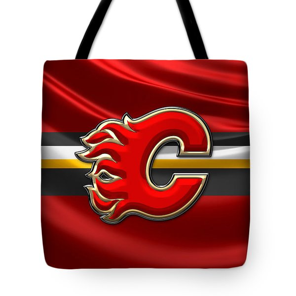 Calgary Flames - 3d Badge Over Flag Tote Bag