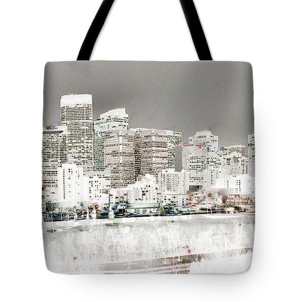 Tote Bag featuring the digital art Calgary Skyline 3 by Stuart Turnbull