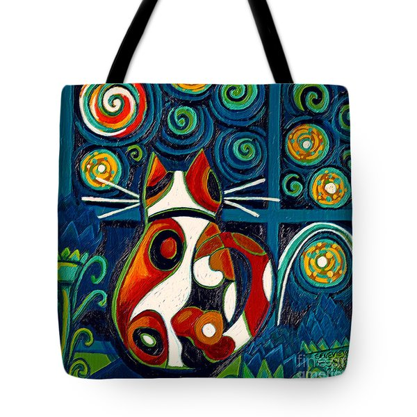 Calico Cat At Window On A Starry Night Tote Bag