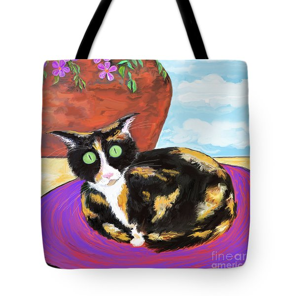 Calico Cat On A Rug  Tote Bag