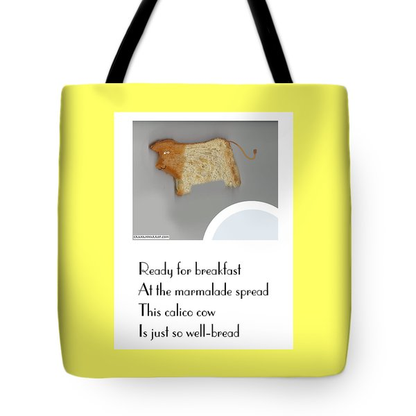 Tote Bag featuring the digital art Calico Cow by Graham Harrop