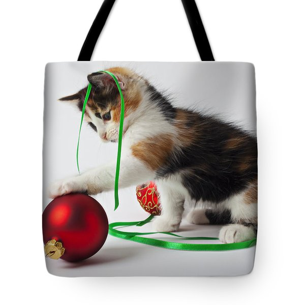 Calico Kitten And Christmas Ornaments Tote Bag