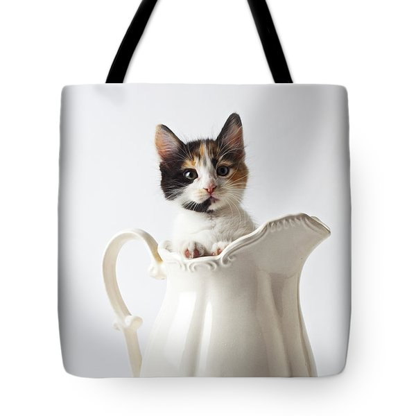Calico Kitten In White Pitcher Tote Bag by Garry Gay
