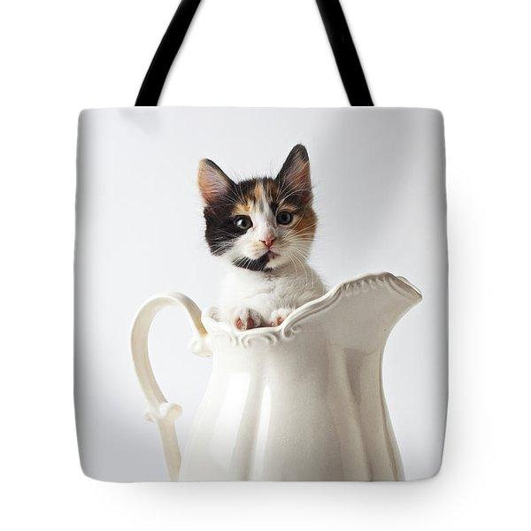 Calico Kitten In White Pitcher Tote Bag