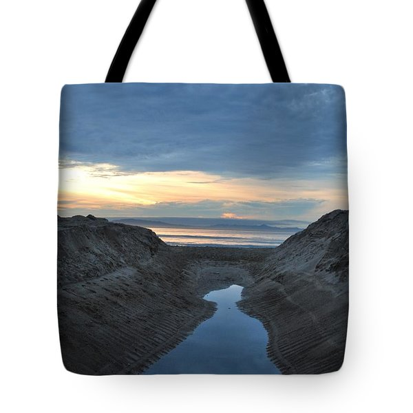 California Beach Stream At Sunset - Alt View Tote Bag