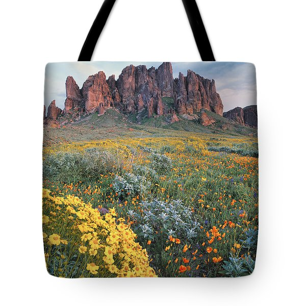 Tote Bag featuring the photograph California Brittlebush Lost Dutchman by Tim Fitzharris