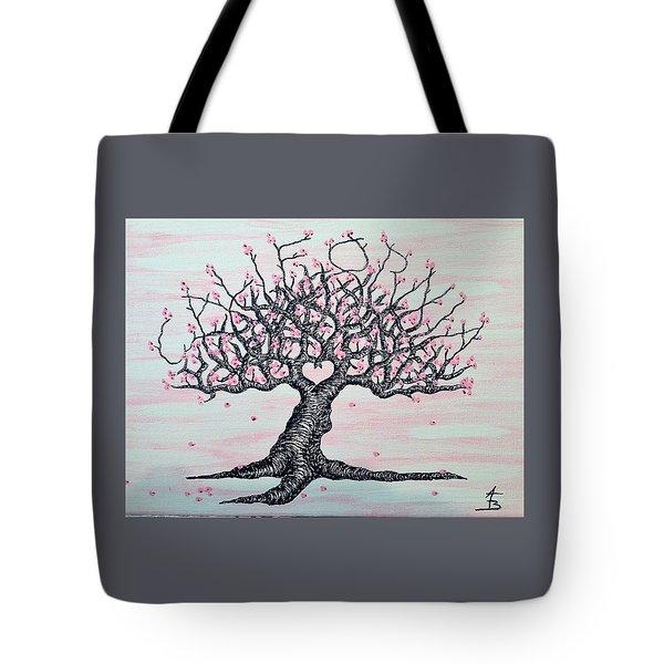 California Cherry Blossom Love Tree Tote Bag