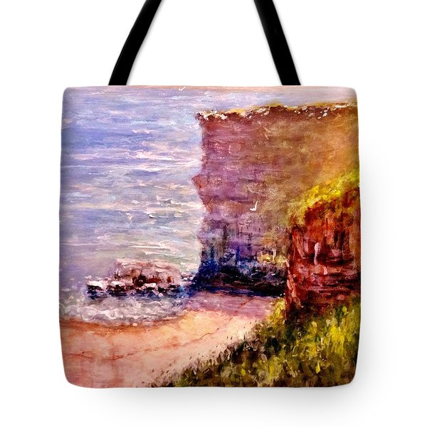 Tote Bag featuring the painting California Cliffs.. by Cristina Mihailescu