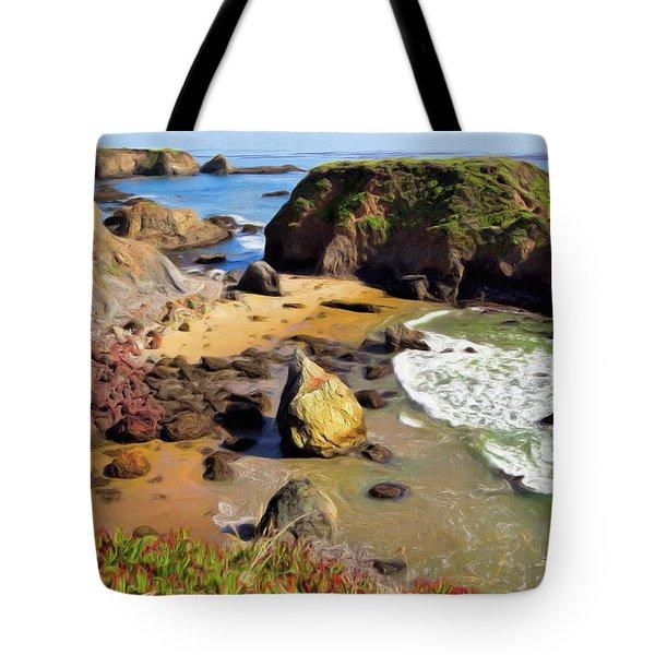 California Coast Rocks Cliffs Iceplant Ap Tote Bag