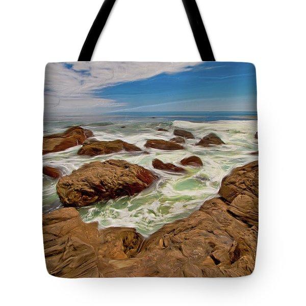 California Coast Waves On Rocks Ap Tote Bag