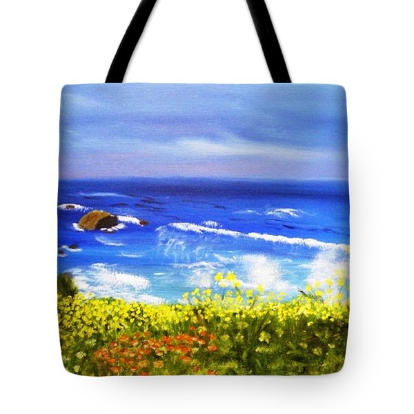 Tote Bag featuring the painting California Coastline Big Sur Ca by  Debbie