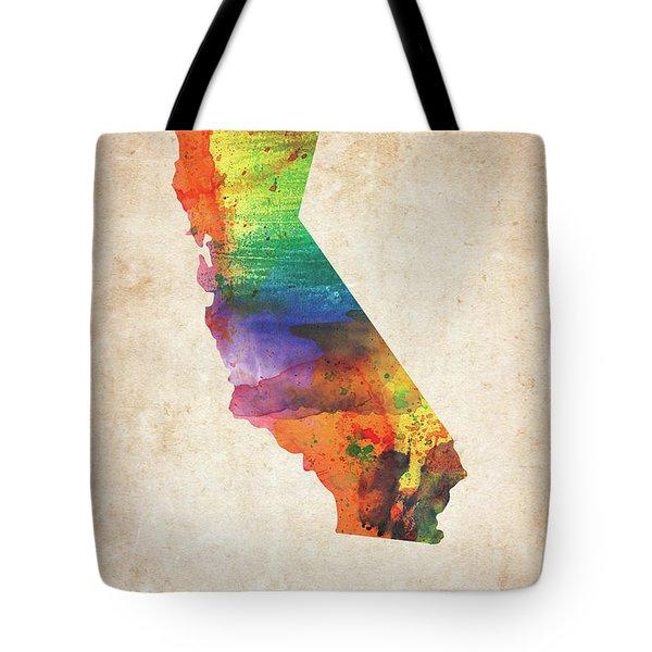 California Colorful Watercolor Map Tote Bag