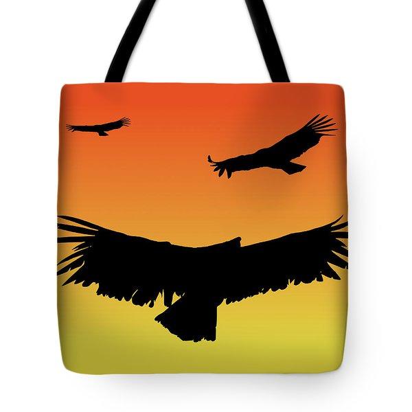 California Condors In Flight Silhouette At Sunset Tote Bag