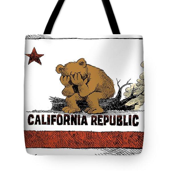 California Fire Bear Grieves Tote Bag