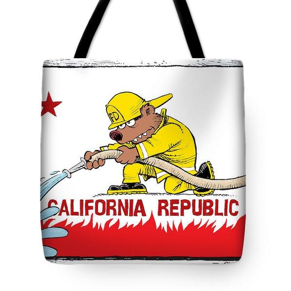 California Firefighter Flag Tote Bag