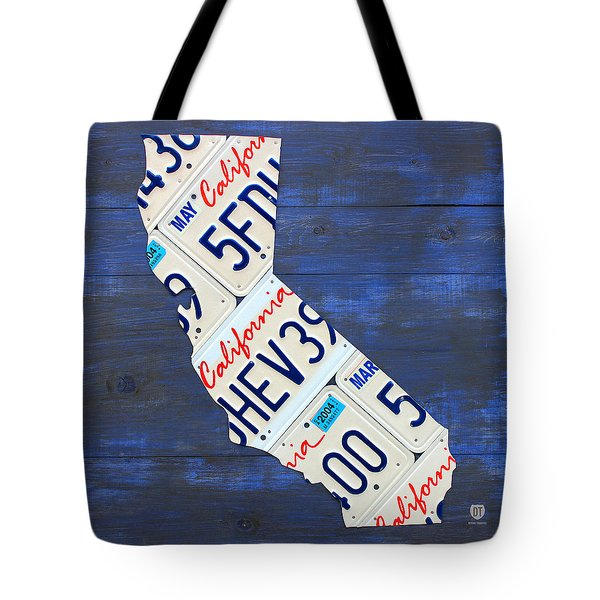California License Plate Map On Blue Tote Bag