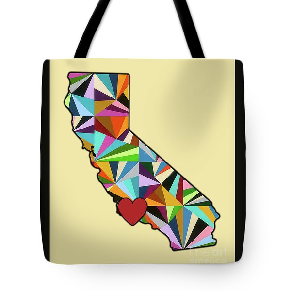 California Love Geometric Map Tote Bag by Carla Bank