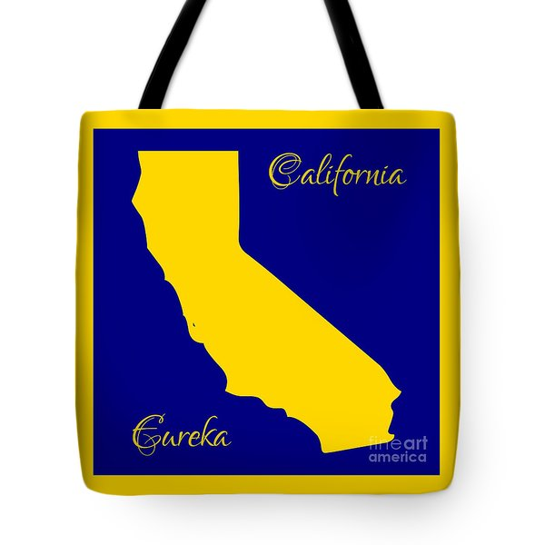 California Map With State Colors And Motto Tote Bag by Rose Santuci-Sofranko