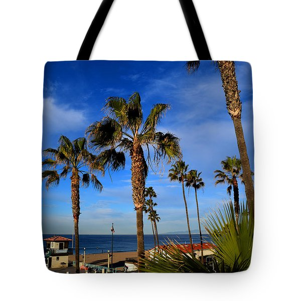 California Palm Trees And Blue Sky Tote Bag