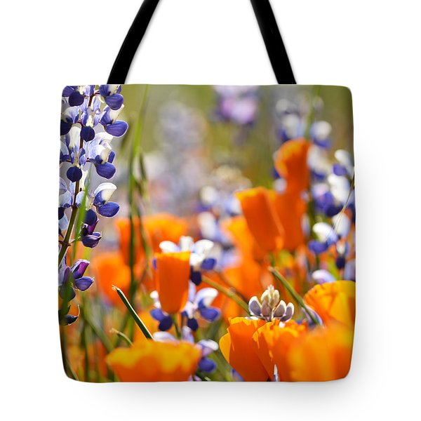 Tote Bag featuring the photograph California Poppies And Lupine by Kyle Hanson