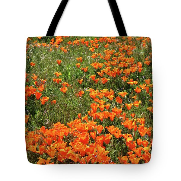 Tote Bag featuring the mixed media California Poppies- Art By Linda Woods by Linda Woods