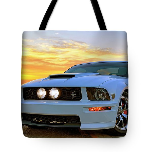 Tote Bag featuring the photograph California Special Sunrise - Mustang - American Muscle Car by Jason Politte