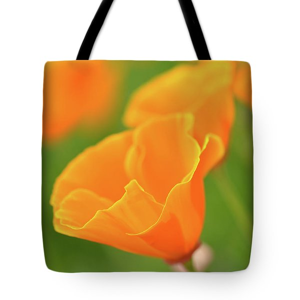 California Spring Poppy Macro Close Up Tote Bag