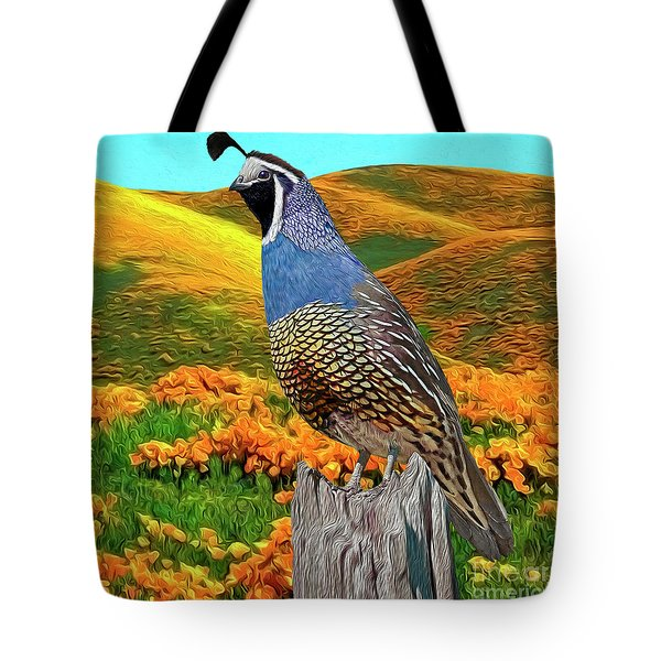 California State Bird And Flower Tote Bag