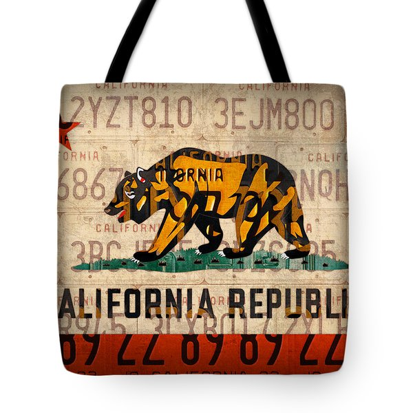 California State Flag Recycled Vintage License Plate Art Tote Bag by Design Turnpike