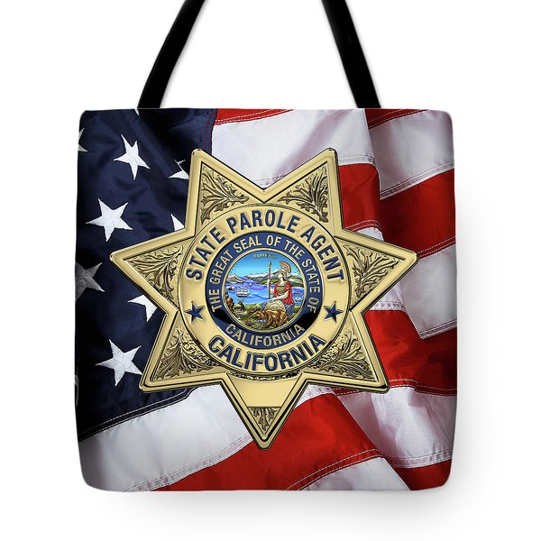 California State Parole Agent Badge Over American Flag Tote Bag by Serge Averbukh
