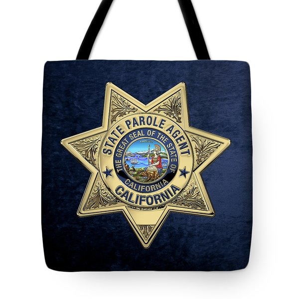 California State Parole Agent Badge Over Blue Velvet Tote Bag by Serge Averbukh