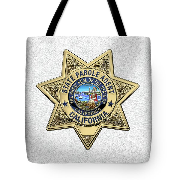 California State Parole Agent Badge Over White Leather Tote Bag by Serge Averbukh
