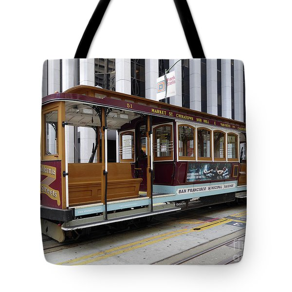 Tote Bag featuring the photograph California Street Cable Car by Steven Spak