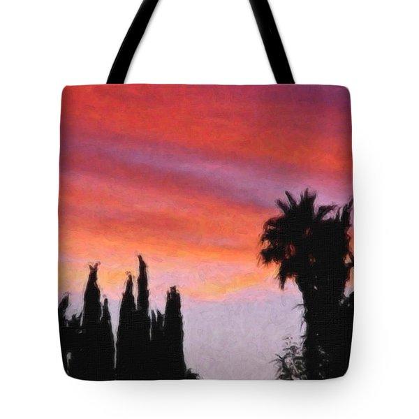 California Sunset Painting 3 Tote Bag by Teresa Mucha